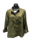 CHOSEN BY ISPYIT LONG SLEEVE LINEN SHIRT - KHAKI