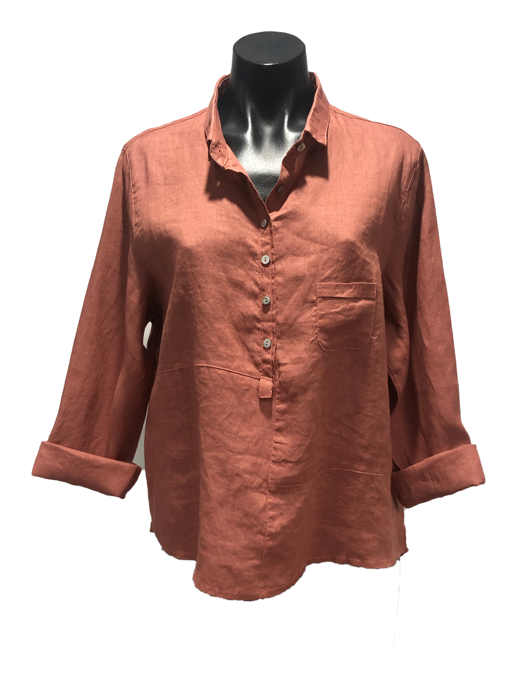 CHOSEN BY ISPYIT LONG SLEEVE LINEN SHIRT - RUST RED