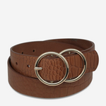 STATUS ANXIETY MISLAID BELT - TAN CROC/GOLD