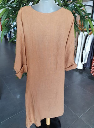 PUROLINO KELLY LINEN DRESS - CAMEL
