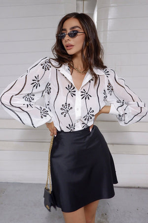 SEVEN WONDERS ELISE BLOUSE - WHITE BLACK