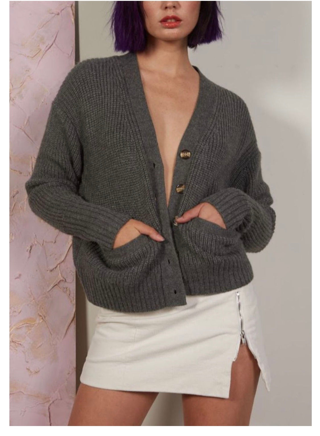 CHOSEN BY ISPYIT CROPPED CARDIGAN - CHARCOAL