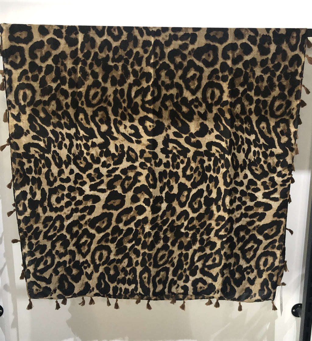 CHOSEN BY ISPYIT BELLA SCARF - DARK TAN LEOPARD