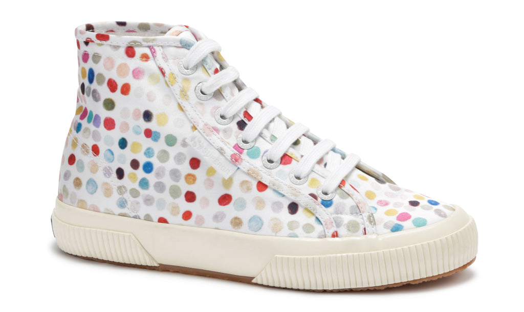 SUPERGA 2988 POLYROMANTICDOTSW WHITE MULTI COLOUR DOTS