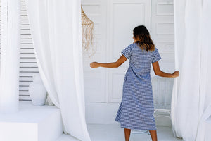 LJC LULU DRESS - NAVY GINGHAM
