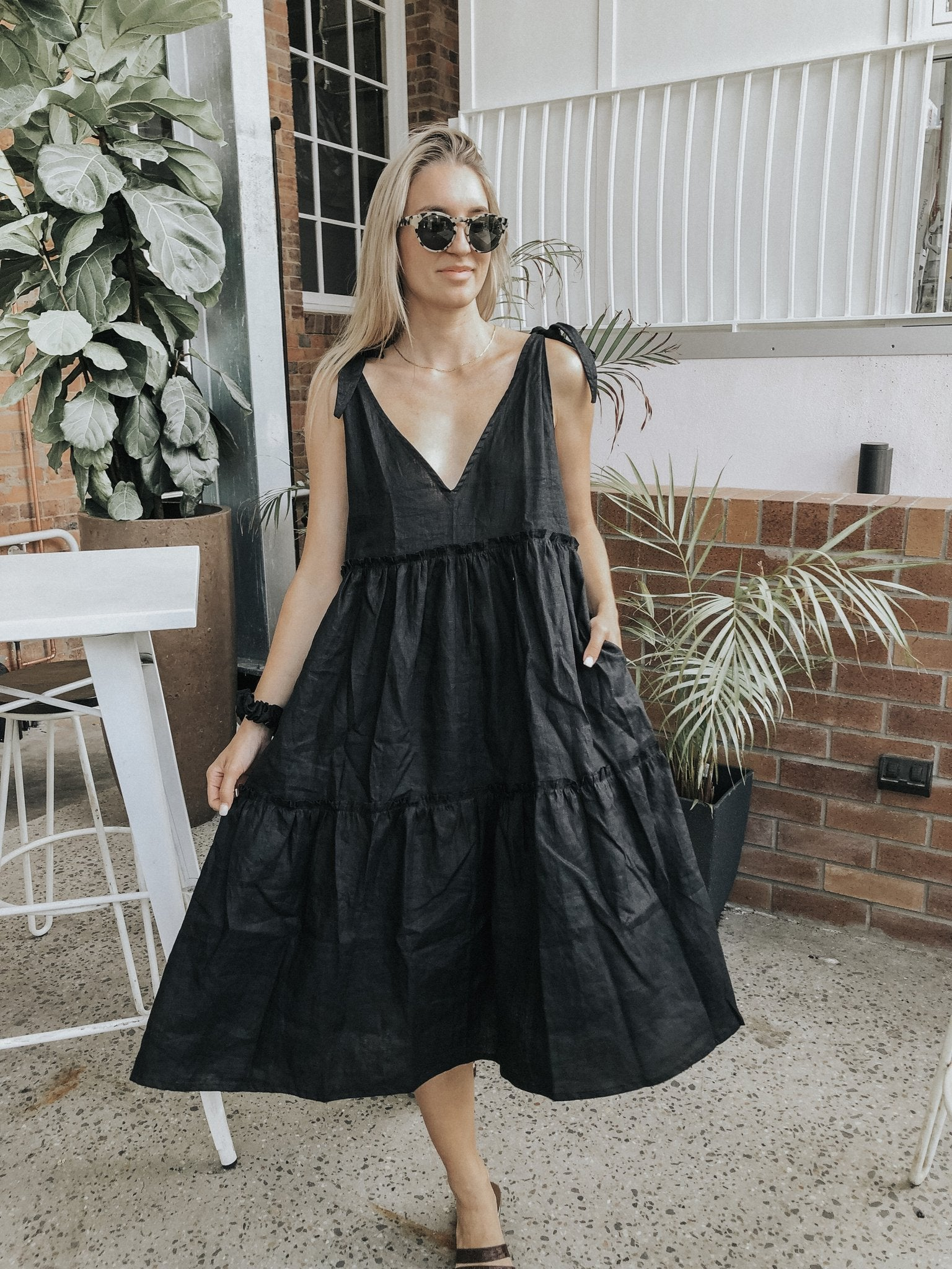 LJC OSTUNI SMOCK DRESS - BLACK