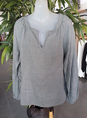 PUROLINO JOSIE LINEN TOP - GREY