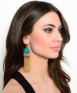 TURQUIOSE TASSEL EARRINGS