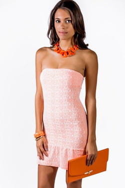 STRAPLESS NEON CORAL DRESS