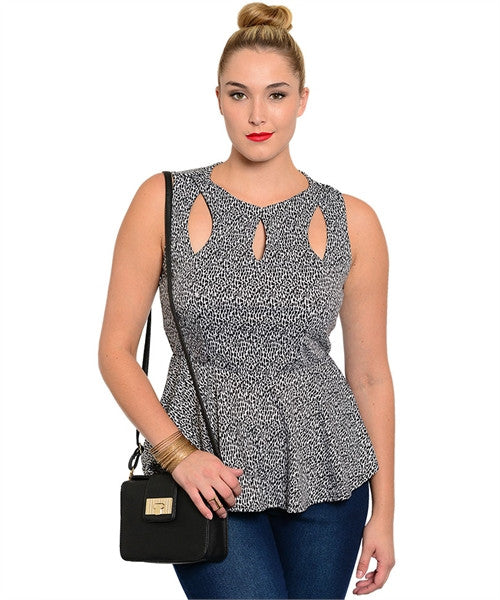 CHEETAH CUT OUT PEPLUM