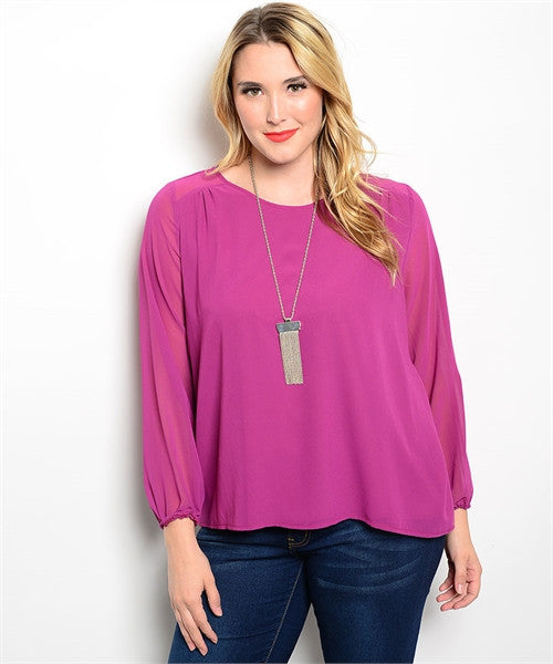 MAGENTA SHEER BLOUSE