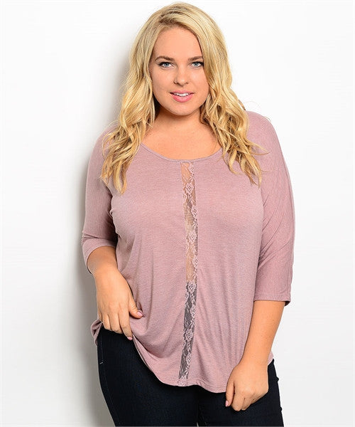 EVERYDAY 3/4 SLEEVE TOP WITH LACE DETAIL