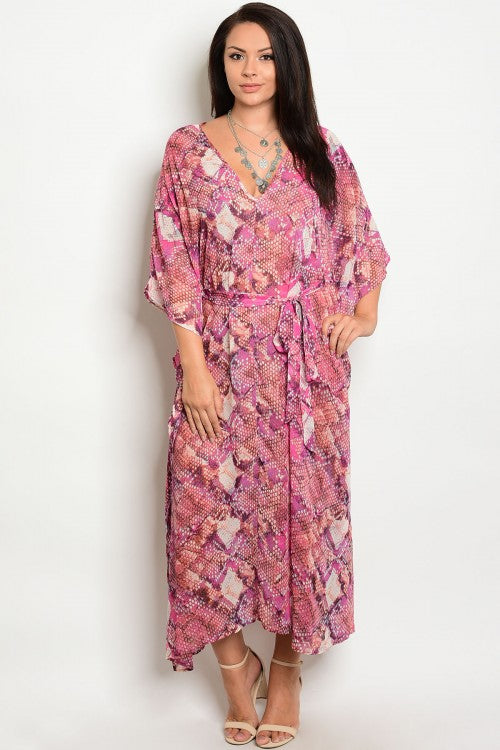 PATERNED SLEEVED MAXI