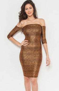 OFF THE SHOULDER METALLIC DRESS