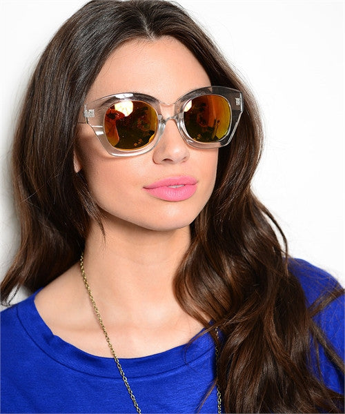 CLEAR FRAMED COLOURED SUNGLASSES