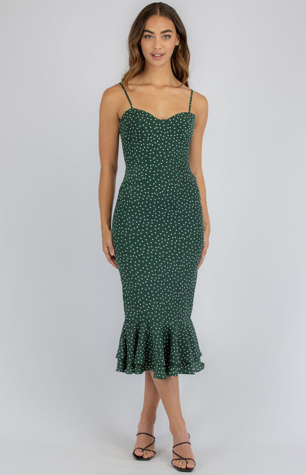 SPOTTED LOVE MIDI DRESS