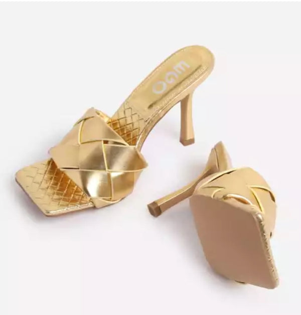 GOLDEN GODDESS PEEP TOE MULES