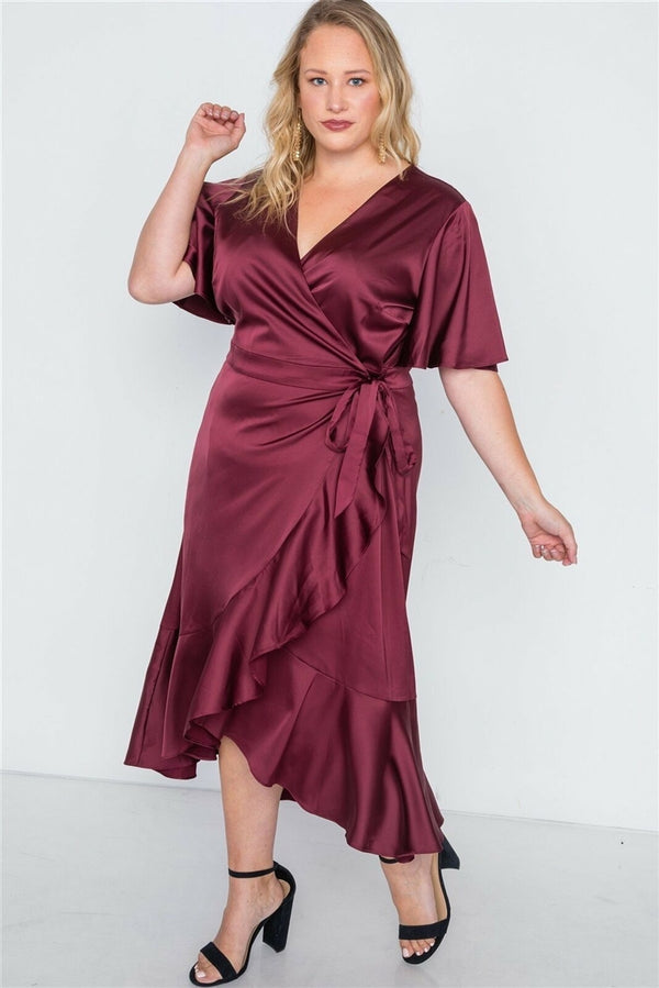 SATIN WRAP MIDI DRESS
