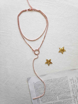 ROSEGOLD DIAMONTIE DROP NECKLACE