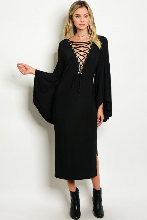 BLACK LACE-UP BELL SLEEVE DRESS