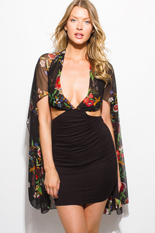FLORAL CAPE MINI DRESS