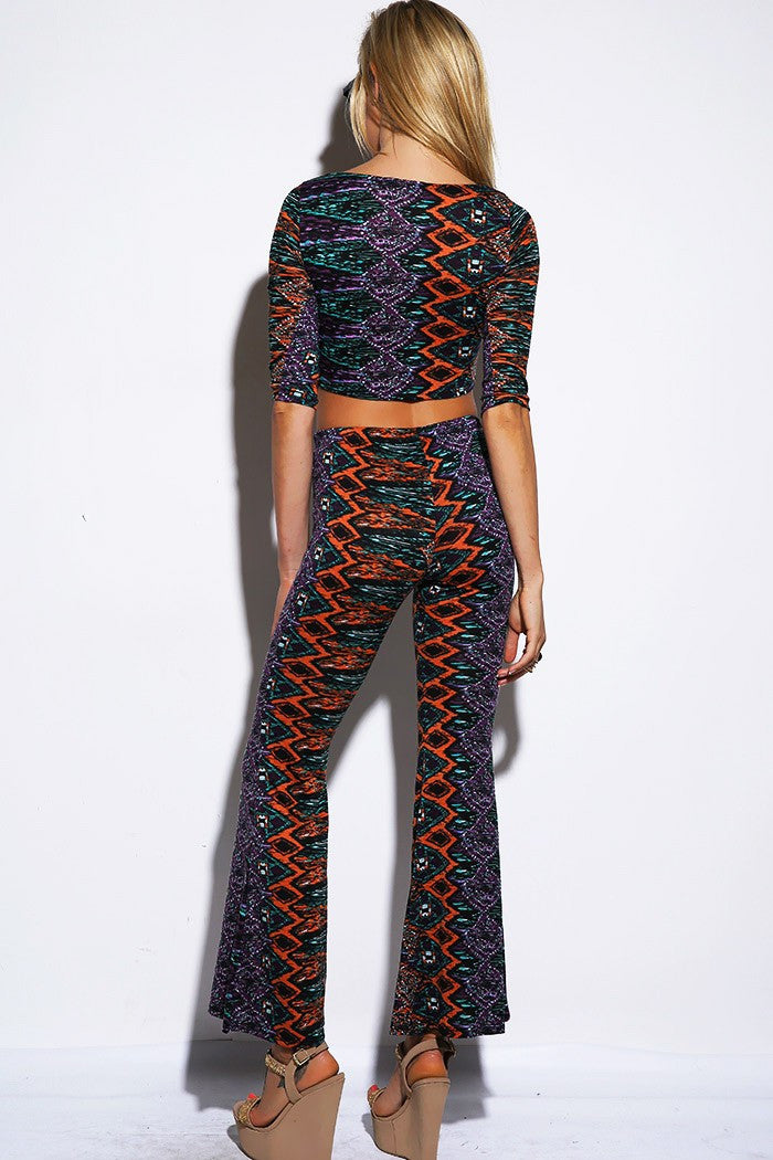 AZTEC PRINT FLARED LEGGINGS