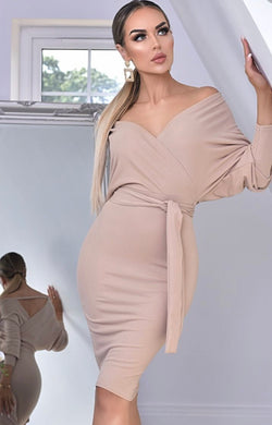ALL NUDE WRAP DRESS