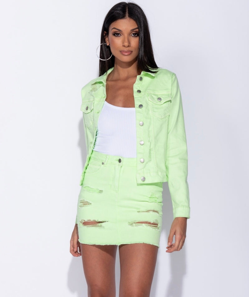 LIGHT NEON DISTRESSED JACKET