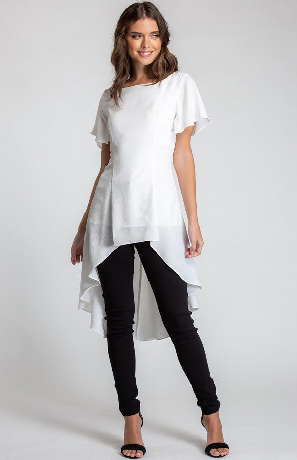 WATERFALL HEM BLOUSE