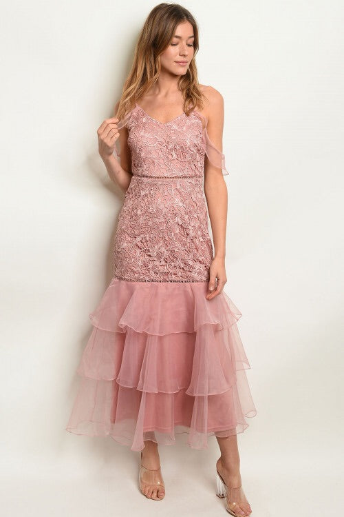 DUSTY ROSE LACE DRESS