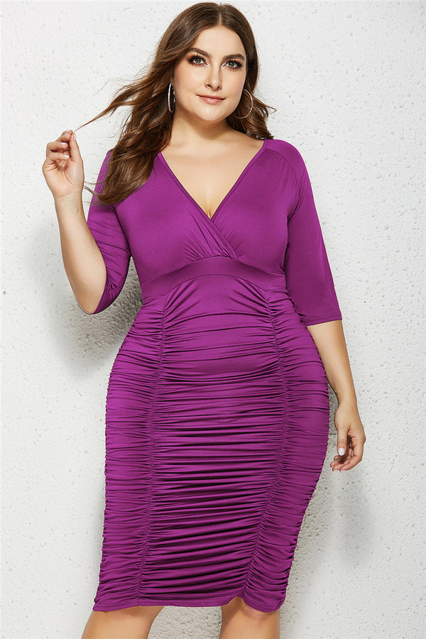 CURVAGEOUS RUCHED MIDI DRESS