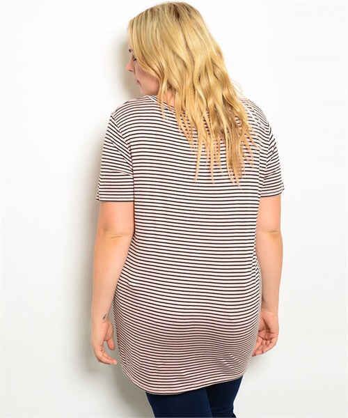 STRIPED LONG TEE
