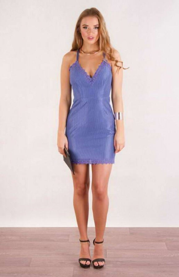 BLUE MESH LACE DRESS