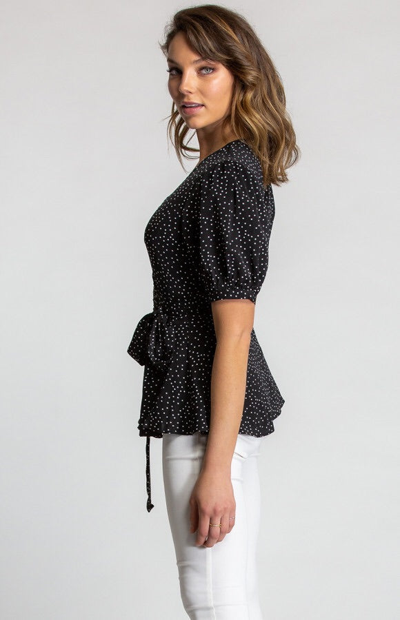 POLKA DOT BUBBLE BLOUSE