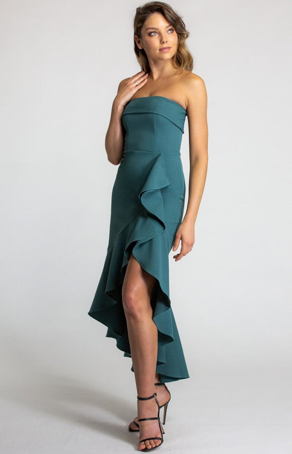 TEAL DREAM WATERFALL DRESS