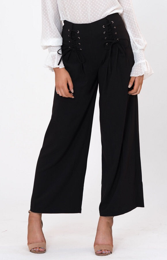 LACE UP WIDE LEG PANTS