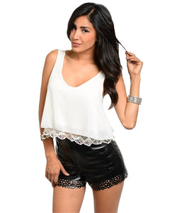 WHITE CROP WITH LACE TRIM