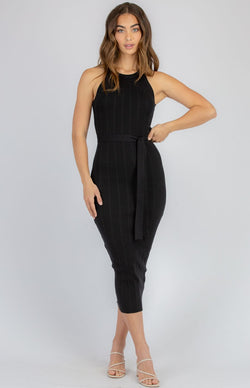 HALTER RIBBED MIDI DRESS