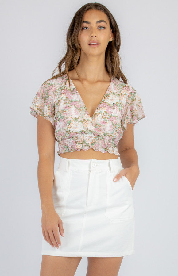 FLORAL BUTTERFLY TOP