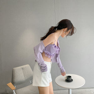 UQ MADE AIER RUFLLES BUSTIER-PURPLE