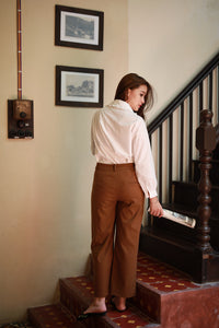 WIDE CUT VIN TROUSERS BROWN