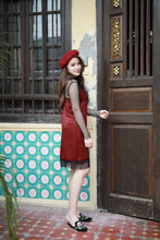 HASTLE LACE SILK DRESS MAROON (9665357512)