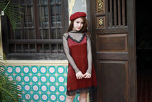 HASTLE LACE SILK DRESS MAROON