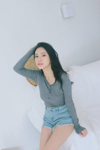 UQMADE KOREAN BASIC COTTON TOP GREY