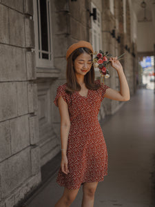 KOREAN FLORAL V NECK DRESS in MAROON (4428977078347)