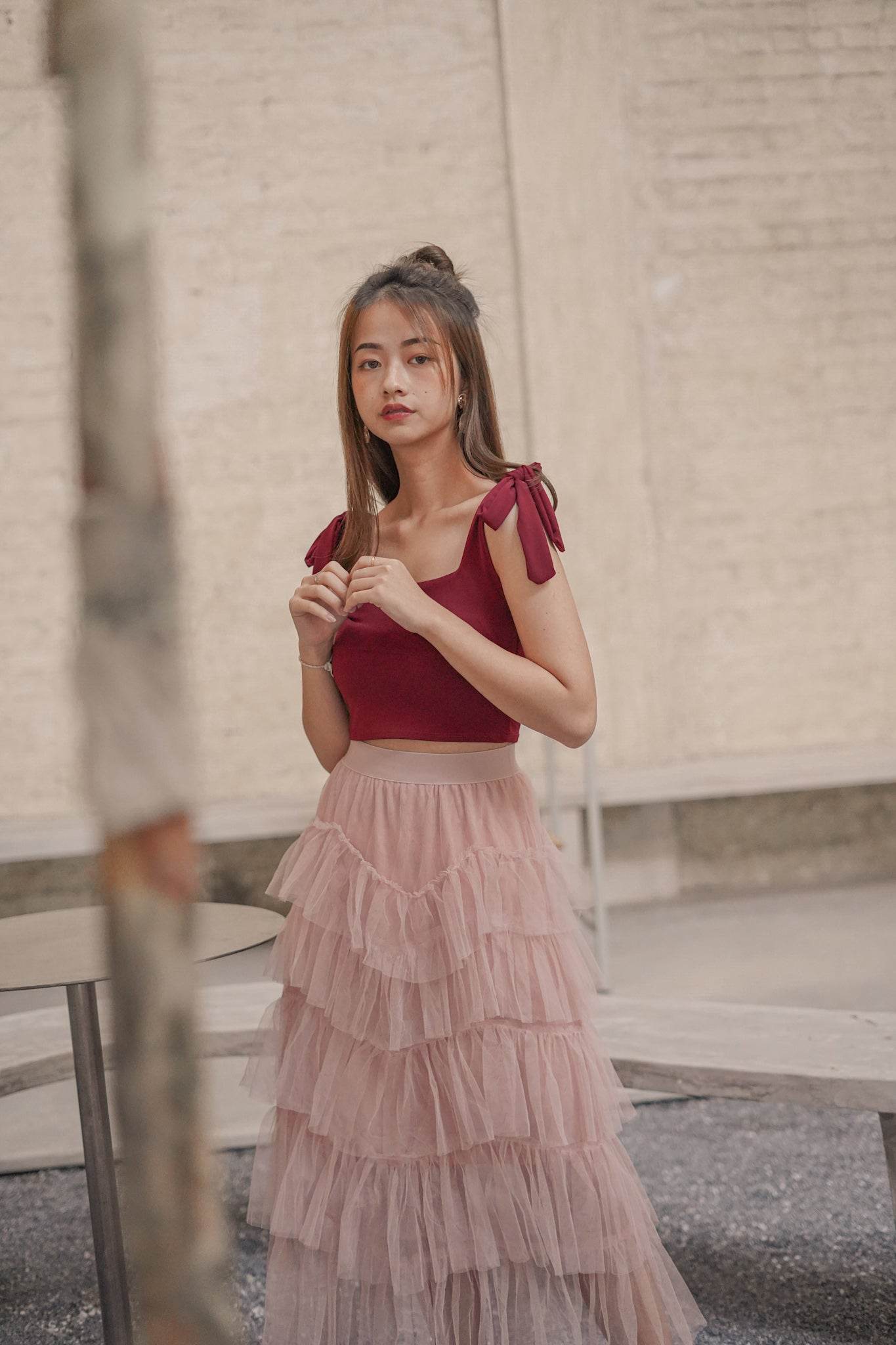 HIGH-WAIST FAIRY SKIRT in NUDE PINK (4429008437323)