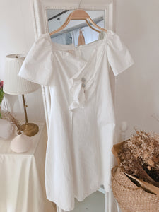 WHITE WRAP-OVER BUTTON DRESS (4403208257611)