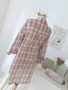 KOREAN OVERSIZE PINK CHECKERED BLOUSE (4408029708363)