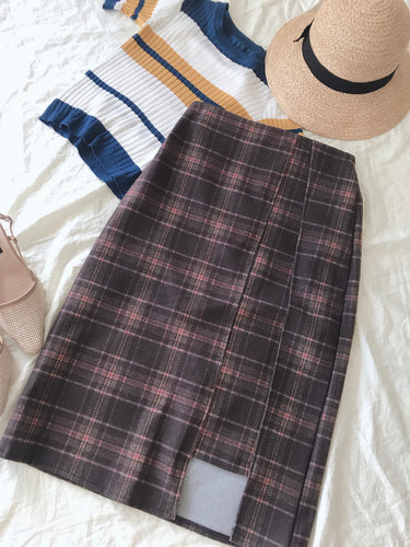 KOREAN BROWN HIGH-WAIST GRID MIDI SKIRT (4409982845003)
