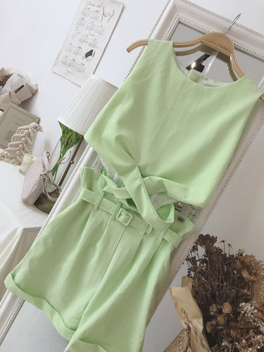 SLEEVELESS GREEN TOP + BOTTOM  SET (4411842691147)